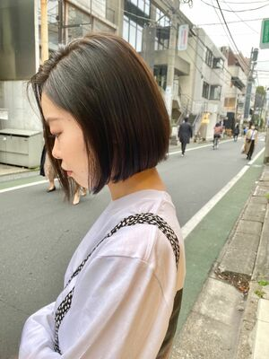 大人かわいい/ミニボブ/髪質改善/暗髪カラー/オリーブアッシュ/表参道
