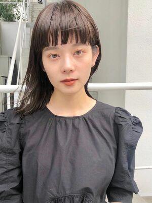 BALLOON HAIR 表参道店(ヒルズ裏 1分)ワイドバング 鎖骨切りっぱなし お客スタイル