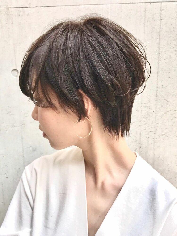 ハンサムショートショートスタイルショートヘア毛先パーマことりベージュ