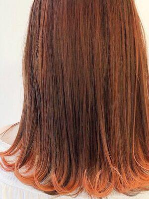 #裾カラー #インナーカラー#オレンジカラー