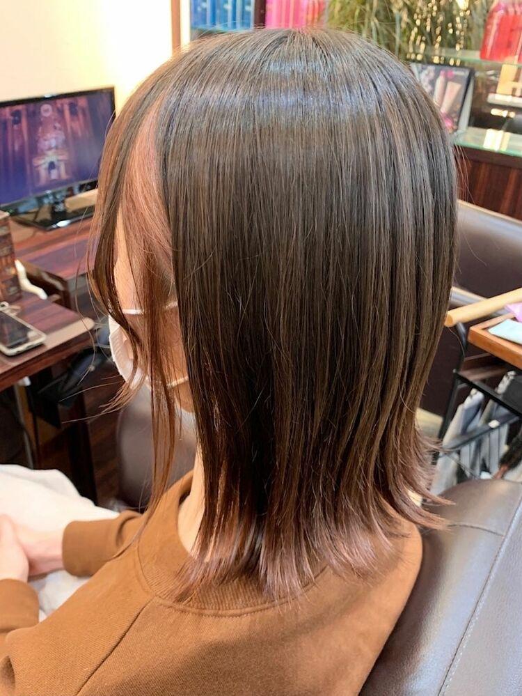 伸ばしかけボブピンクベージュフェイスフレーミング裾グラデーションカラー