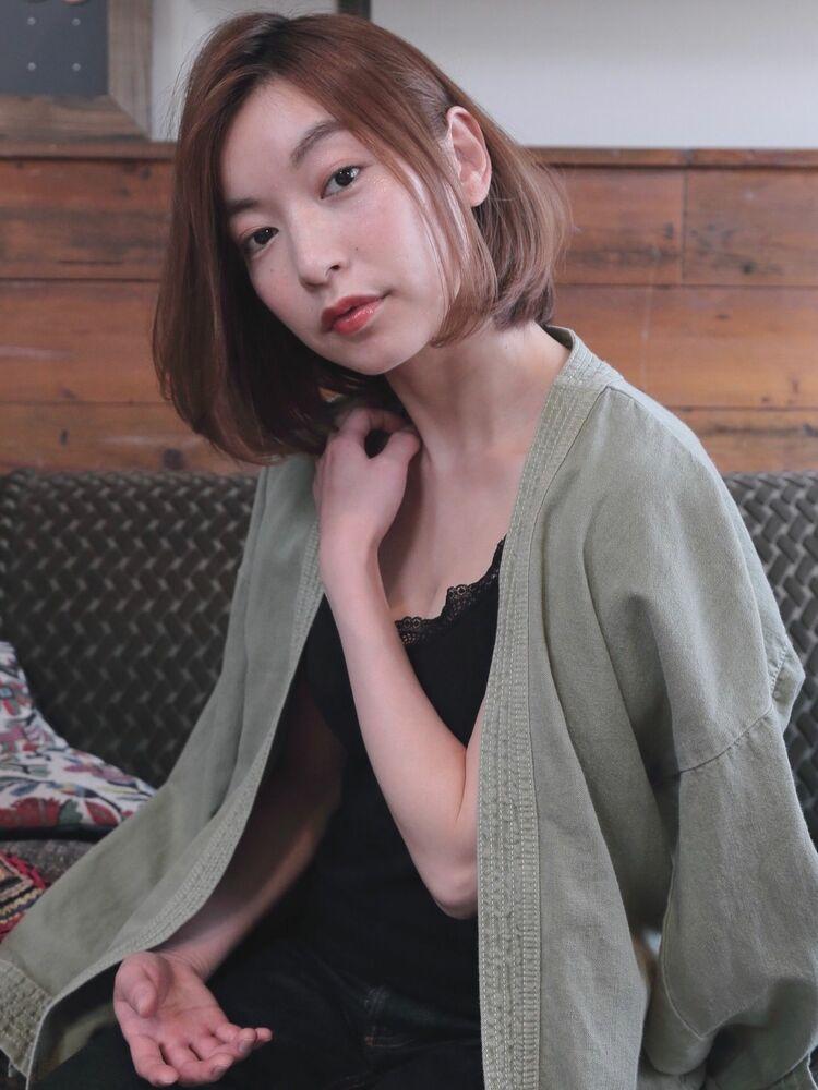 2019秋冬☆ナチュラルストレートボブかき上げバングブランジュ☆錦糸町美容室柴田彩香