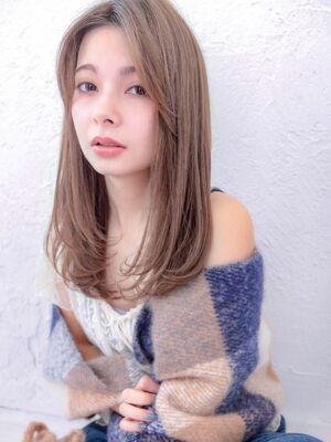 2019秋冬☆ナチュラルストレートレイヤーカットワンカールシアベージュかき上げバング☆柴田彩香
