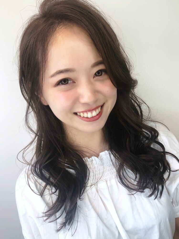 2019秋冬☆かき上げバングローレイヤーグレージュゆるふわロング☆柴田彩香