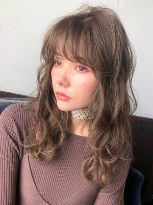 2019秋冬☆フェミニンミディアム波巻きシースルーバング☆錦糸町美容室柴田彩香