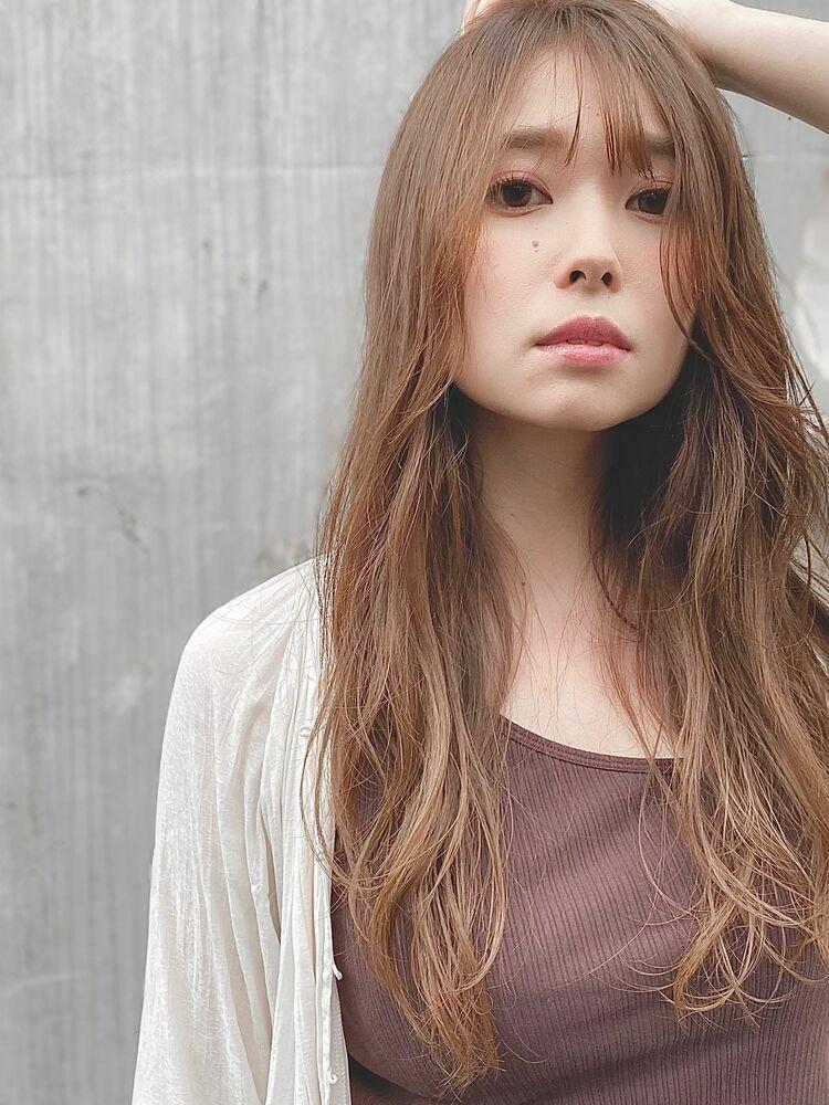 骨格カバー☆チークバングで色っぽく☆夏の薄め前髪×小顔レイヤー