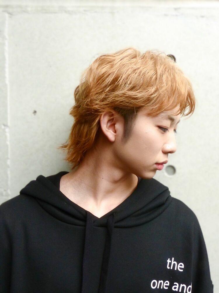 韓国風マッシュウルフ×シャーペットオレンジカラー