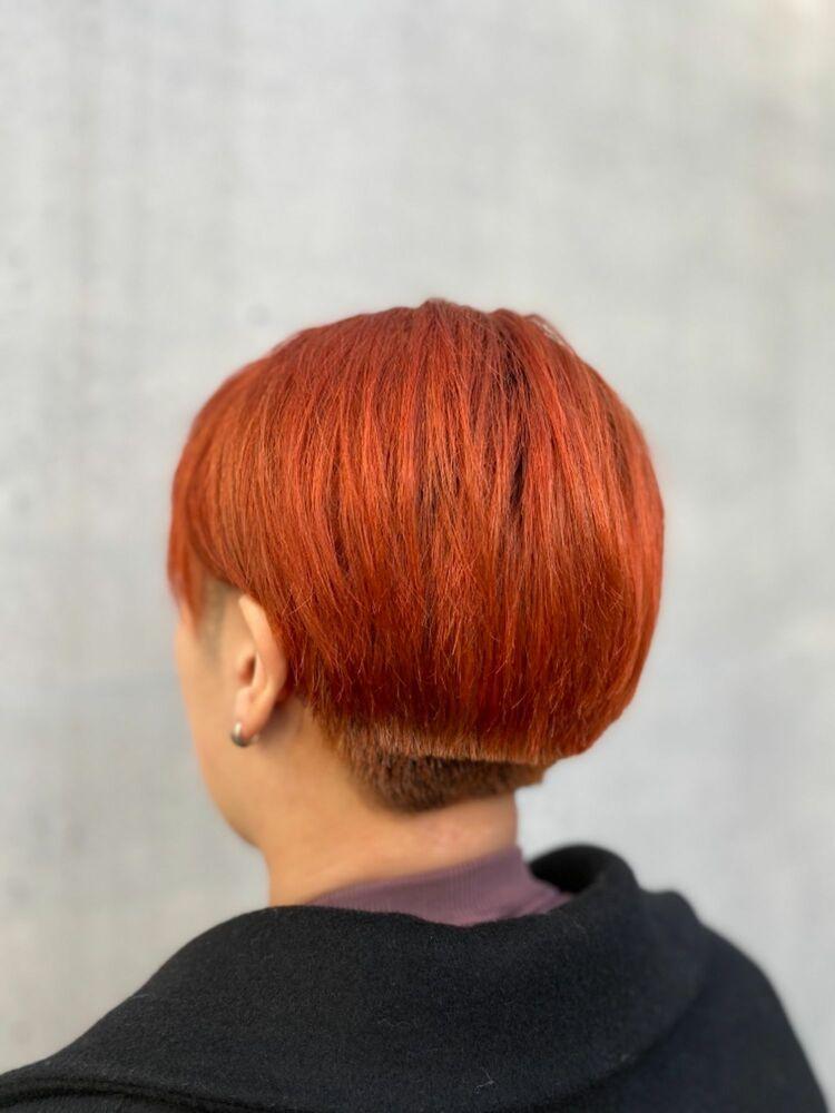 刈り上げマッシュ!ビビットオレンジカラー
