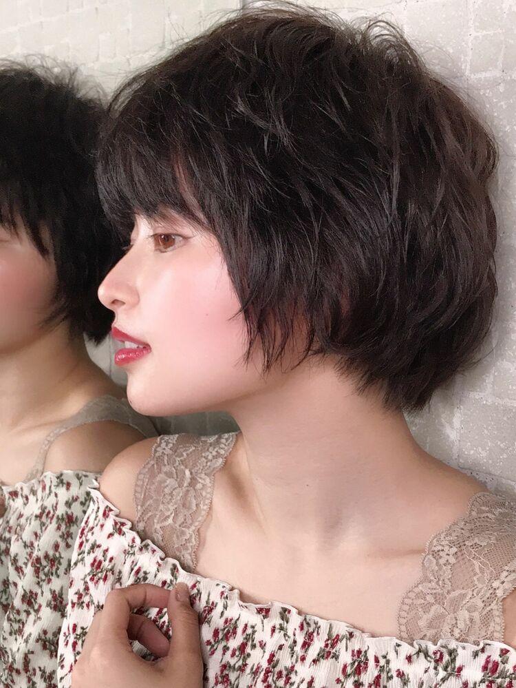 黒髪×ゆるふわショート
