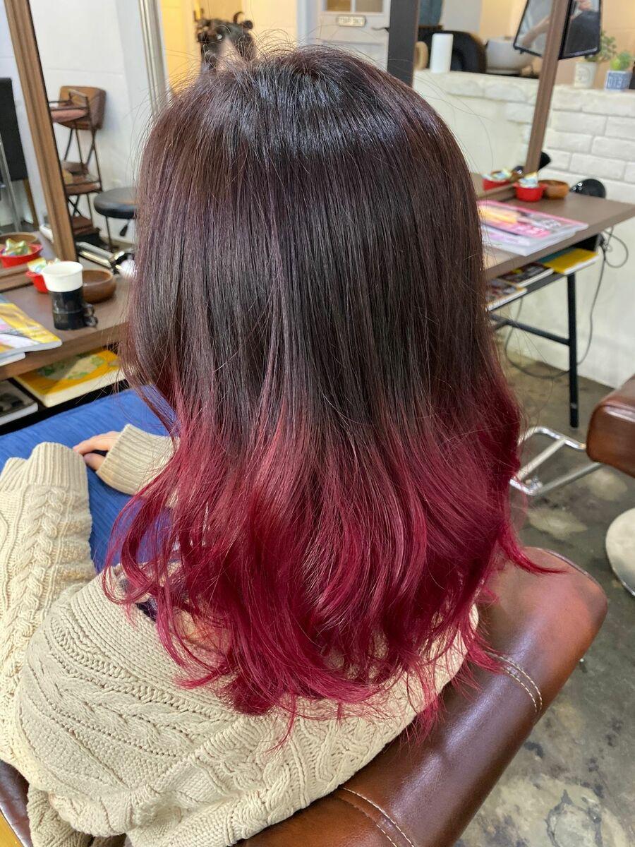 毛先に向かって赤くなるEdgycolor