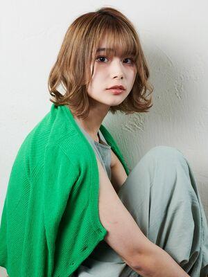 ハイトーン/ボブアレンジ/外ハネ/ベージュ
