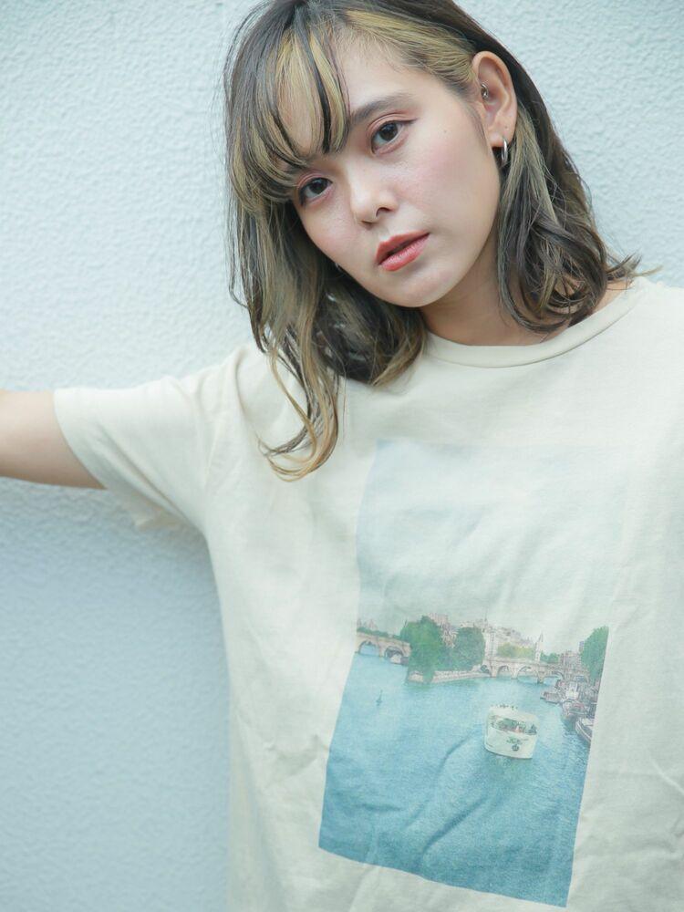 前髪ハイライト/インナーカラー/ミディアム[ヘアリゾート粋enam新宿東口店]