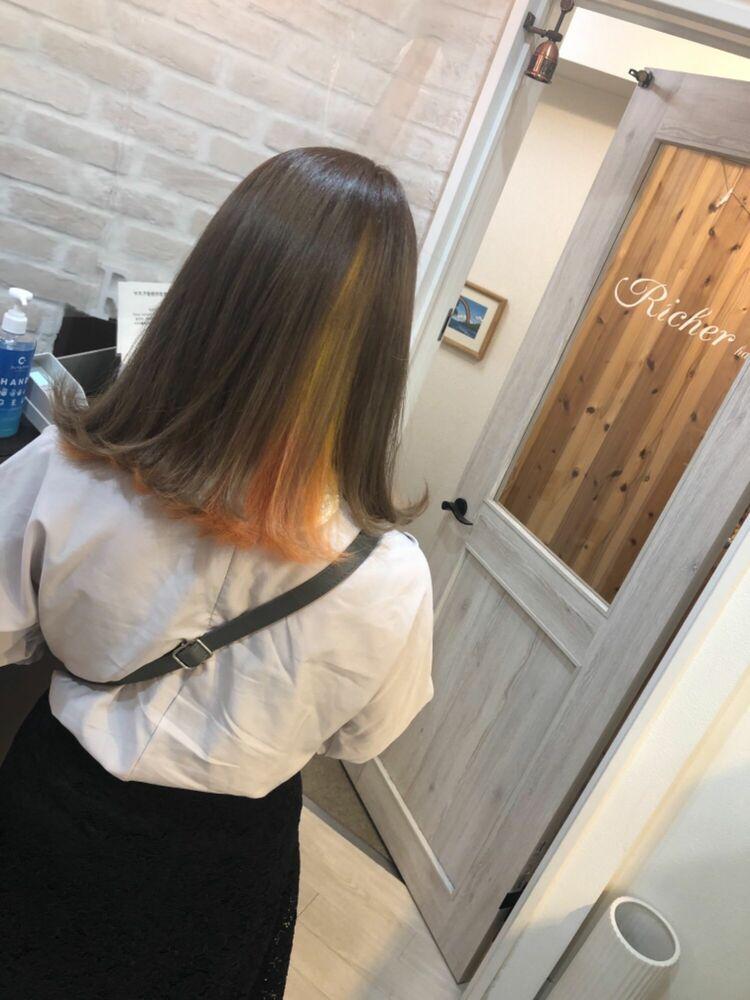 Richer hairsalon リシェル渋谷-勝又舞夏 インナーカラー×イエローオレンジ