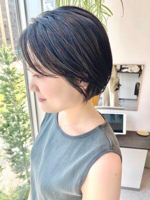 銀座/VIE/つばさ☆カットが上手い◎黒髪でもふんわり軽いショートボブ