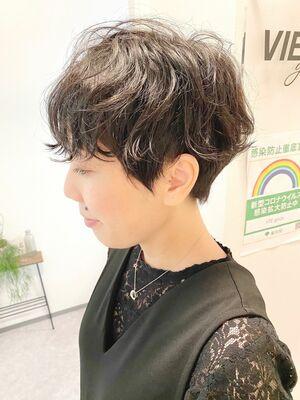 銀座/VIE/つばさ☆カットが上手い◎クセを活かしたパーマ風ショート