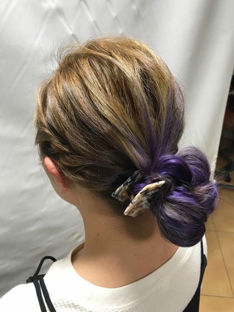 やっぱり可愛い❣️紫のハイトーンカラー。。