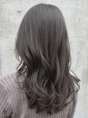ブリーチなし/シアーグレージュ/透明感カラー