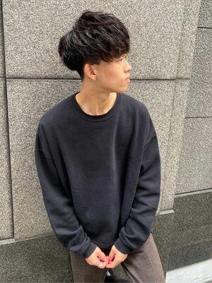 黒髪×無造作 ナチュラルパーマスクリューショートマッシュ