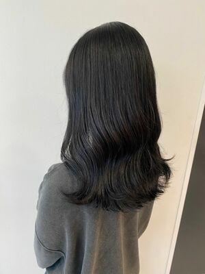 ゆるっと感が可愛い透明感暗髪カラー*