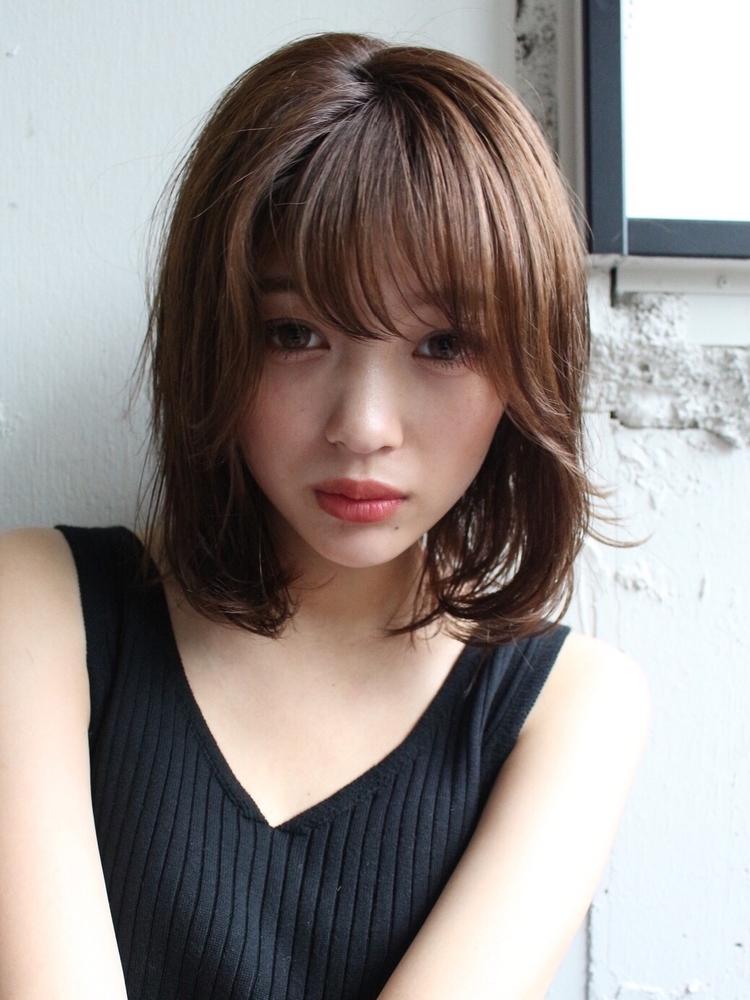 大人かわいいミルクベージュ☆美髪ブランジュ小顔ダブルバング♪