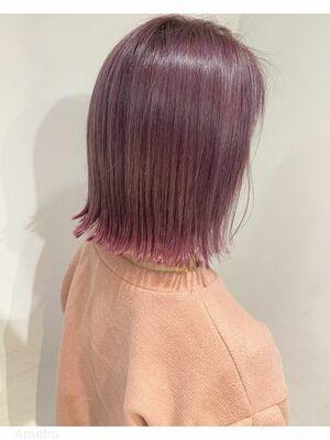 ベビーピンク裾カラー