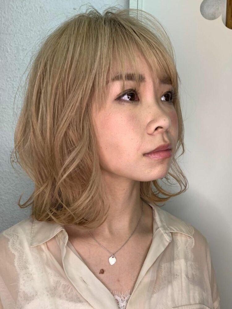韓国風ハイトーンカラー小顔エアリーミディ20代30代40代