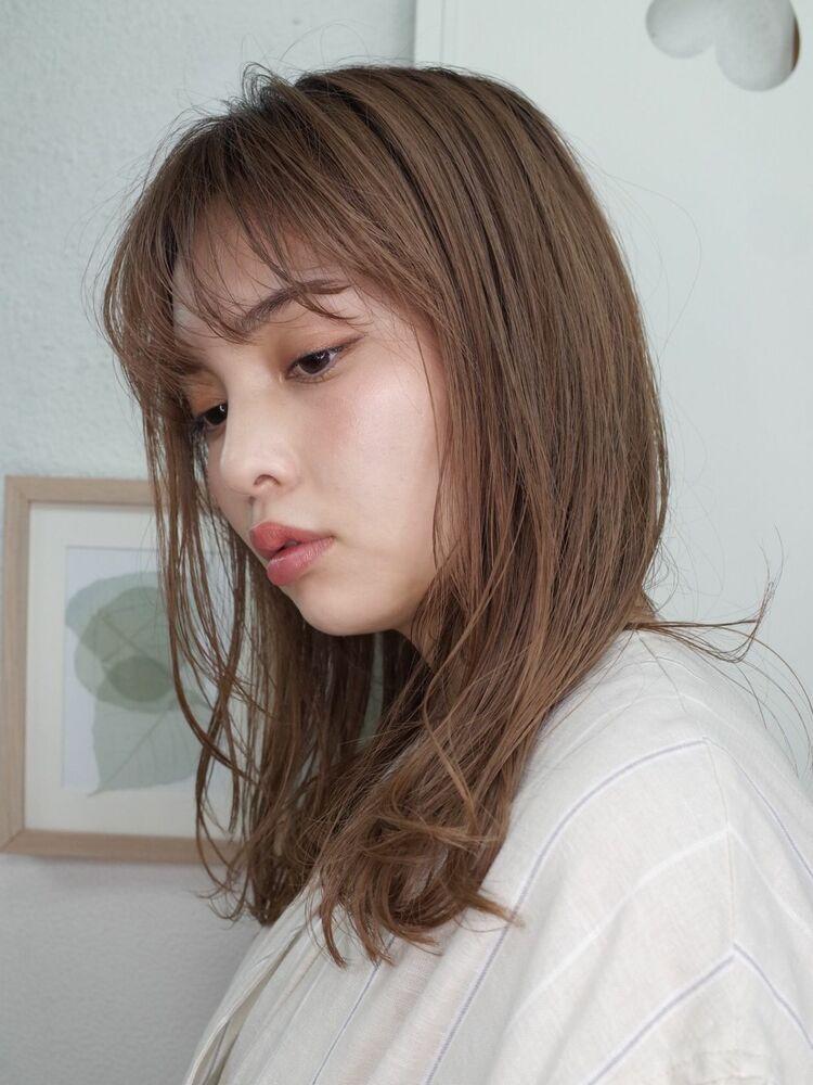 シースルー前髪くせ毛風小顔カーリーミディ20代30代40代
