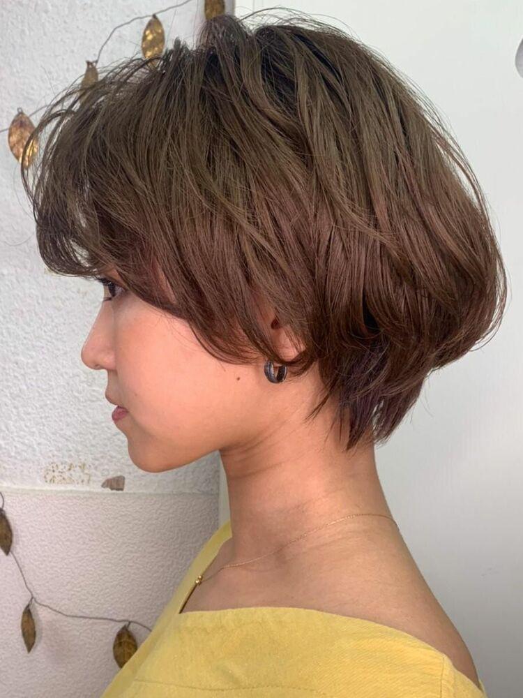 アシンメトリーかきあげ前髪小顔こなれヘア20代30代40代