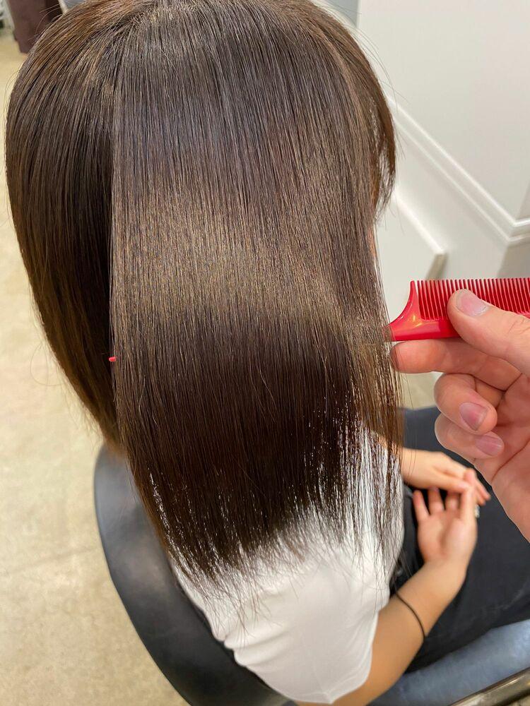髪質改善酸性ストレート(4枚目はbefore)