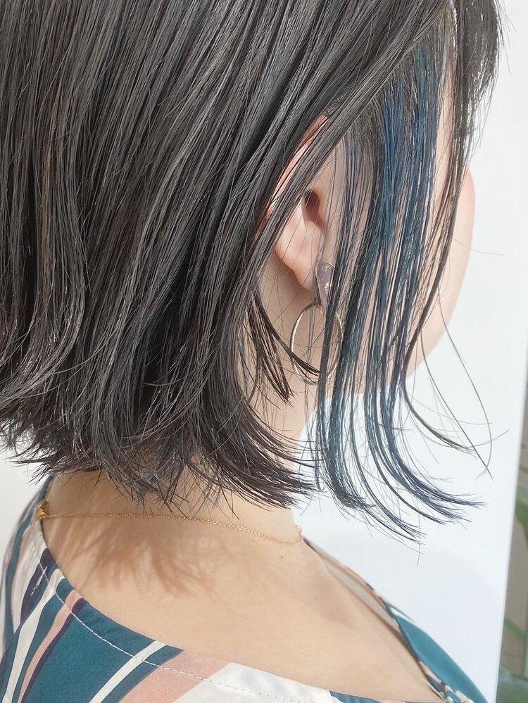 外ハネボブ インナーカラー 青緑