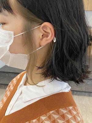 イメチェンおすすめスタイル!!外ハネロブ インナーカラー